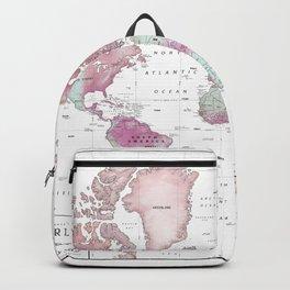 World Map Wall Art [Pink Hues] Backpack