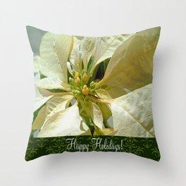 Pale Yellow Poinsettia 1 Happy Holidays S6F1 Throw Pillow