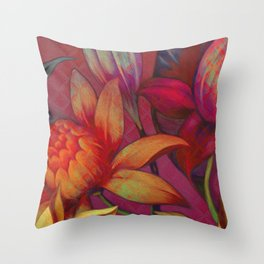 """Retro Giant Floral Pattern"" Throw Pillow"