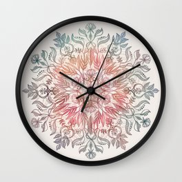 Autumn Spice Mandala in Coral, Cream and Rose Wall Clock