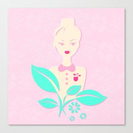 A girl with a top knot. Canvas Print