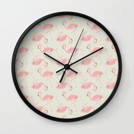 Flamingo Party! Wall Clock