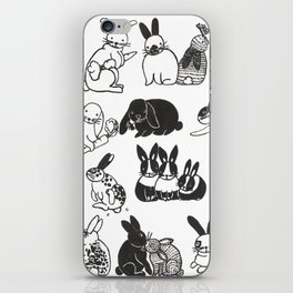 Black and White Bunnies iPhone Skin