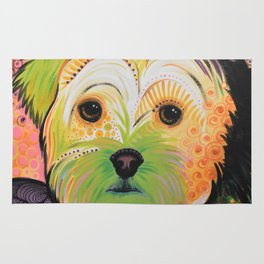 Daisy...Abstract animal pet portrait dog art, Yorkshire Terrier Rug