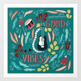 Good vibes - green Art Print