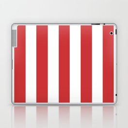 Madder Lake red - solid color - white vertical lines pattern Laptop & iPad Skin