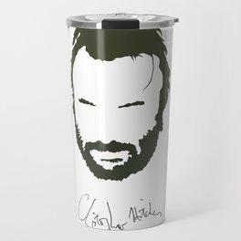 Christopher Hitchens Minimalist Illustration Travel Mug
