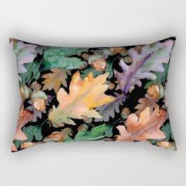 Colorful Woodland Watercolor Oak And Acorn Pattern Rectangular Pillow