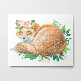 cute fox with roses Metal Print