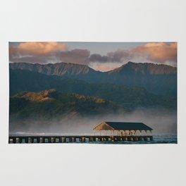 Sunrise over Hanalei Pier  Rug