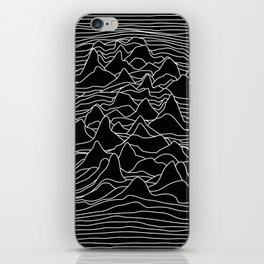 Black and white illustration - sound wave graphic iPhone Skin