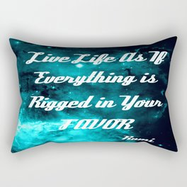 Rigged in Your Favor Rumi Quote Teal Galaxy Rectangular Pillow