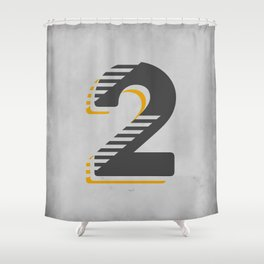 Number 2 Typography Shower Curtain