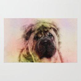 Shar-Pei puppy Sketch Digital Art Rug