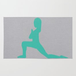 Screen printed Yoga Art - Anjaneyasana  - Low Lunge - Wild Veda Rug