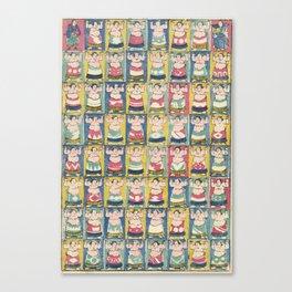 Sumo Wrestlers, Utagawa Yoshikazu, Woodcut Canvas Print
