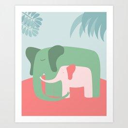 Mama Elephant (blue version) Art Print