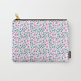 Floral Pattern in Pink, Blue, Teal and Mint Carry-All Pouch