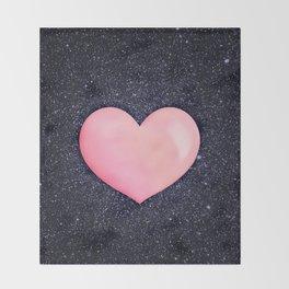 Pink heart on shiny black Throw Blanket