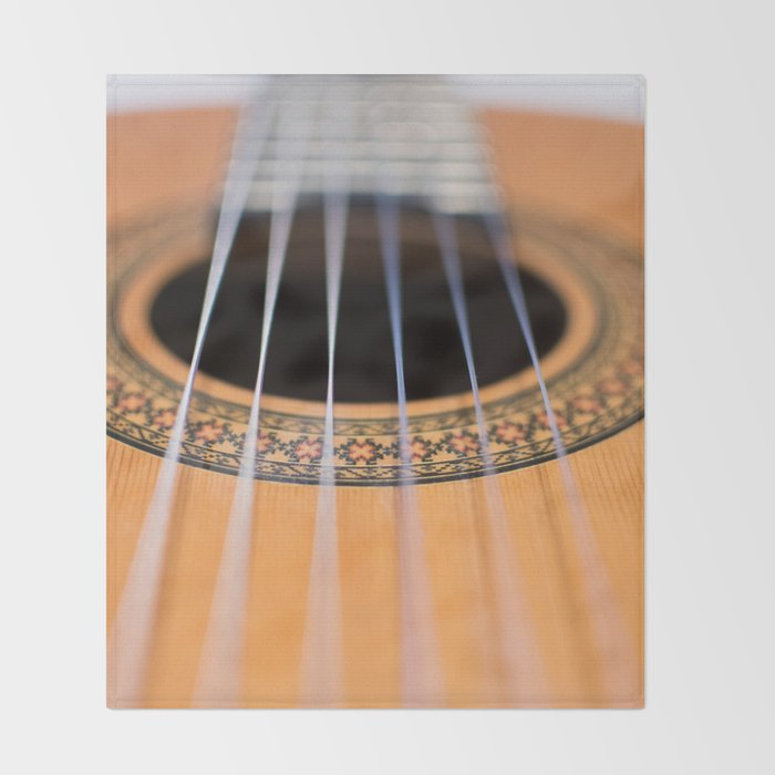 Strings of the guitar above the rose window Throw Blanket