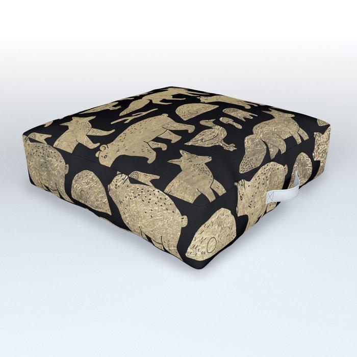 Elegant black faux gold cute wolfs bears ducks pattern Outdoor Floor Cushion