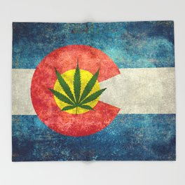 Retro Colorado State flag with leaf - Marijuana leaf that is! Throw Blanket