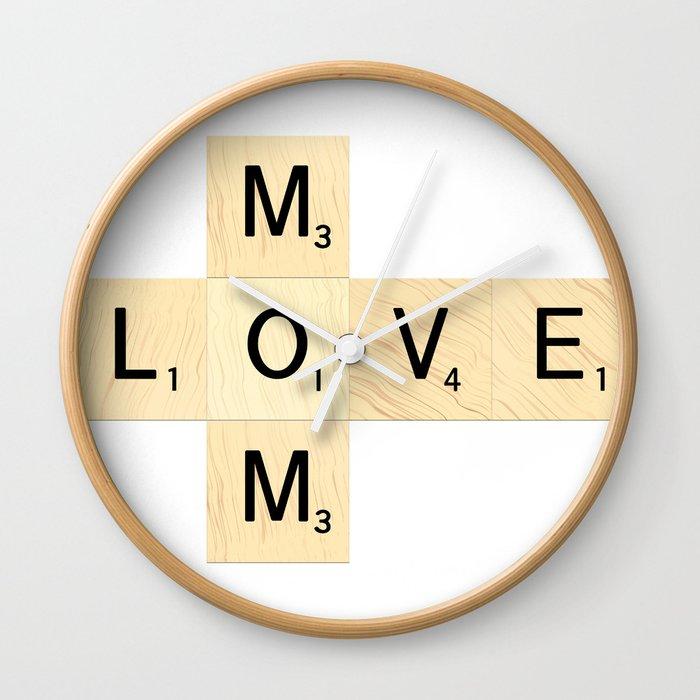 MOM - Mother\'s Day Scrabble Art Wall Clock by ekphotoart | Society6