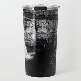 Hidden Waterfall Black and White Travel Mug