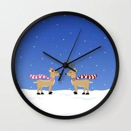 Winter Christmas Reindeers Wall Clock