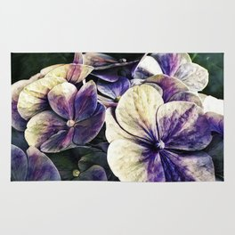 Hortensia flowers in vintage grunge watercoloring style Rug