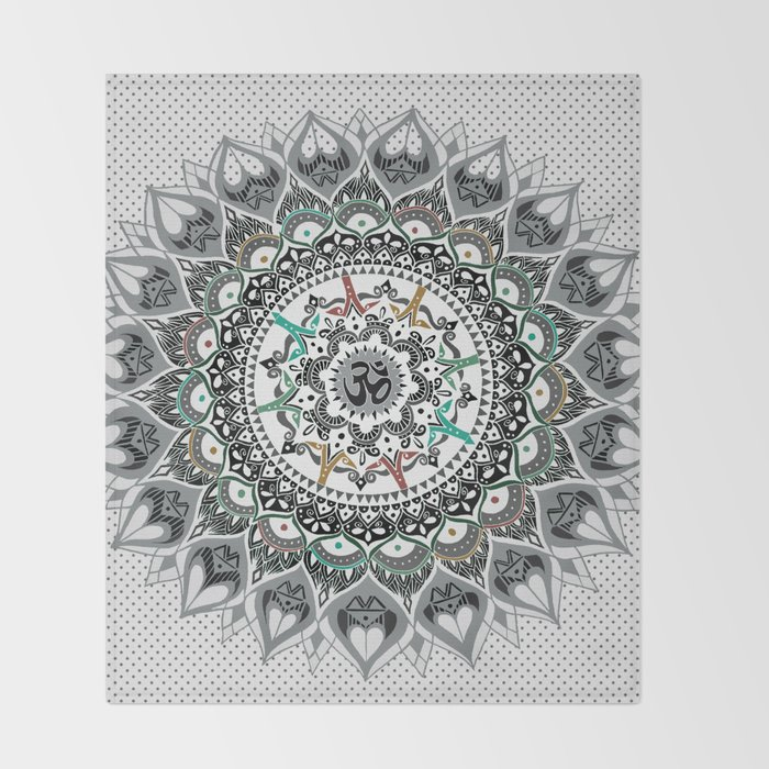 """Om"" Psychedelica Mandala Throw Blanket"