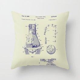 1966 NASA Apollo Mercury Space Capsule Patent Throw Pillow