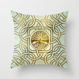 Golden Tree of life  -Yggdrasil on vintage paper Throw Pillow