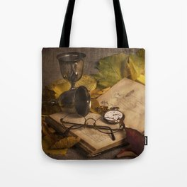 Memories in Autumn - old book glasses and watch  Tote Bag
