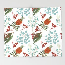 Australian Botanicals - White Throw Blanket