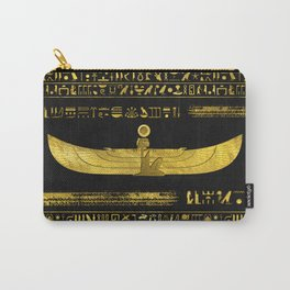 Golden Egyptian God Ornament on black leather Carry-All Pouch