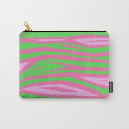 Punky Pink And Green Stripy Animal Print Carry-All Pouch