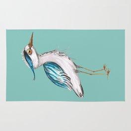 Funny blue heron Rug