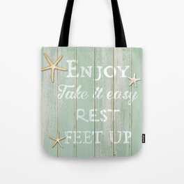 Call to Relax, on Reclaimed Wood Background Tote Bag