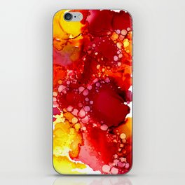 Red & yellow abstract ink art iPhone Skin