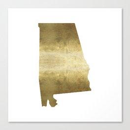 alabama gold foil state map Canvas Print