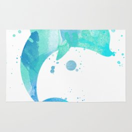 Turquoise Watercolor Dolphin Rug