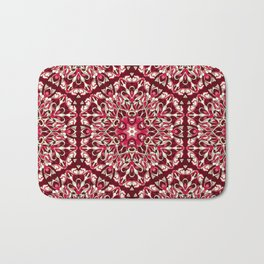 Red geometric Mandala Rich Ornament Bath Mat