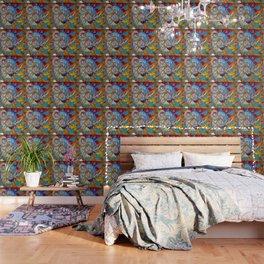 SURREAL MODERN ART BLUE BUTTERFLIES ABSTRACT Wallpaper