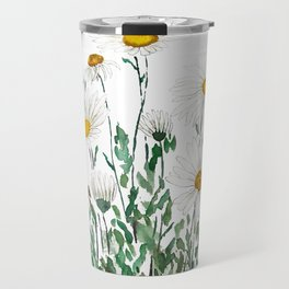 white Margaret daisy watercolor Travel Mug