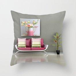 Coffee, Tea or Flowers Vignette Throw Pillow