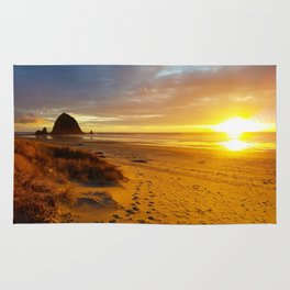 Cannon Beach Oregon at Sunset Haystack Rock Rug