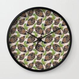Watercolor Pine Cone Pattern Wall Clock