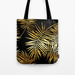 Tropical Palm Fronds Noir Tote Bag