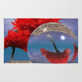poppy and crystal ball - refraction of light Rug